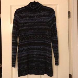 Sweaters - WHBM sweater cutout back tunic metallic accent